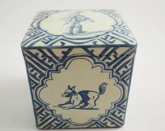 Vintage Tea Tin enamel hunter themed vintage