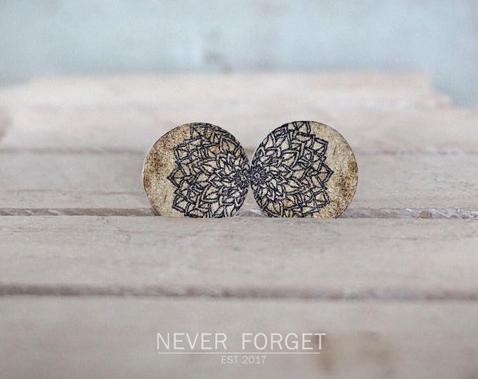 "Featured listing image: Stud Earrings ""Wood""-16 mm/pair"