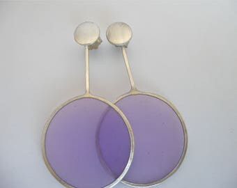 Silver Transparent Earring with purple-coloured resin