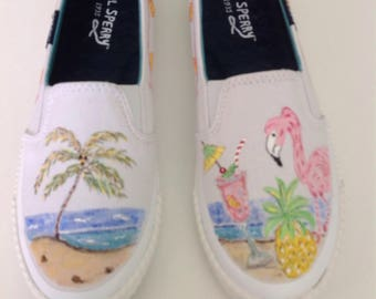Hand painted shoes.  Flamingo ocean and beach theme