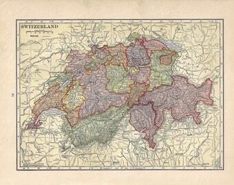 Vintage Switzerland OR Netherlands/Belgium map, 1939, atlas, Europe, old, world decor, travel memento