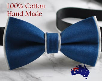 Men Women Petrol Blue Grey 2 Layers 100% Cotton Hand Made Bowtie Bow Tie Wedding Ball Party