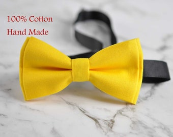 Boy Kids Baby Page Boy 100% Cotton Bright Yellow Bow Tie Bowtie Party Wedding 1-6 Years Old