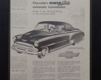 Chevrolet Power Glide, Styleline De Luxe,Vintage Ad, 1951, Classic Cars, Illustration, Garage Decor, Man Cave Decor