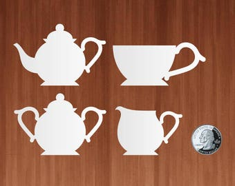 Tea Set Gift Tags - Die Cut Cardstock Shapes Tea Pot, Tea Cup, Cream Pitcher, Sugar Bowl