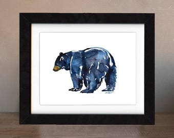 art, original, paintings, original art, bear, gift, bear painting, wall art, black bear, decor, spirit, totem, animal, wild, saltwatercolors