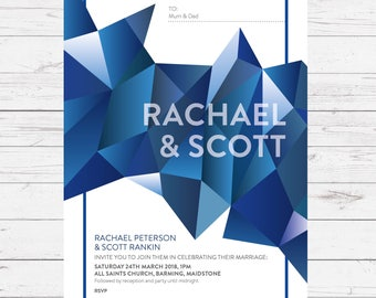 Wedding invitation - Crystal design, personalised, customisable and pre-printed with your guests names