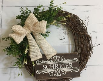 Personalized Grapevine Wreath, Grapevine and Greens Wreath, Neutral/Natural Wreath, Housewarming, Year Round Wreath, Fall and Winter Wreath,
