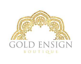 Premade Logo Design, Mandala Logo, Gold Logo Design, Royal Logo, Boutique Logo