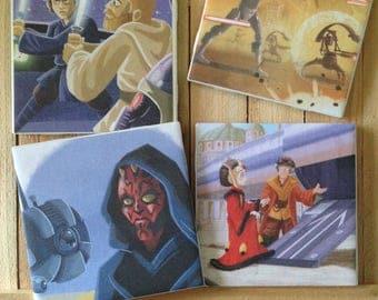 Star Wars Disney Gift  Phantom Menace Clone Wars Revenge of the Sith Coasters- set of 4
