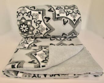 Grey Floral Fleece Blanket Throw