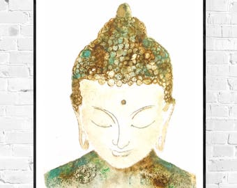 Happy Buddha painting-buddha painting-watercolor-original zen art-khadi paper yoga art-colorful art-zen-meditation art-watercolor
