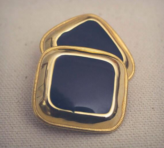Navy Enamel Earring