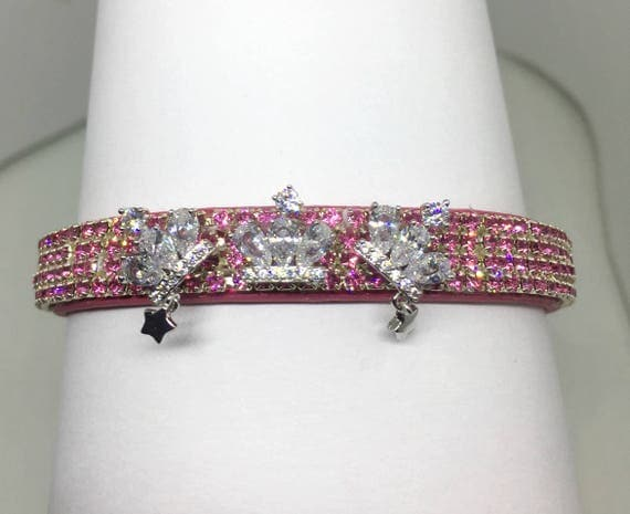 Cutie Pie Pet Collars TM ~Triple Diamond Crown Star Princess~ UPSCALE Crystal Diamante Rhinestone Pet Dog Cat Collar USA