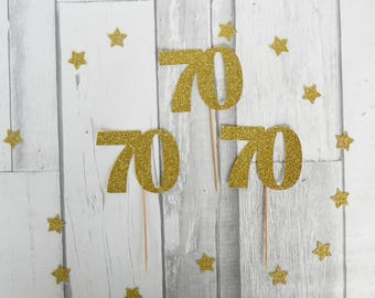 70th Birthday, Cupcake Toppers, 70th Birthday Party, 70th Anniversary, 70th Party Decorations, 70th Birthday Decor, 12CT 1 - 2 Business Days