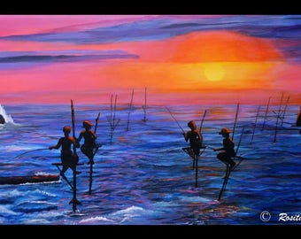 "Acrylic painting on canvas of stilt fishermen 39"" x 19.5"""
