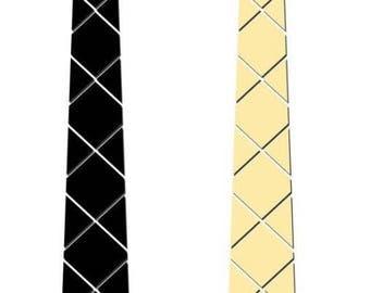 Dual side Black-Gold Hex Style Tie - Diamond Honeycomb  ( Suit Accessories - NeckTie, Hex Neck tie Style)