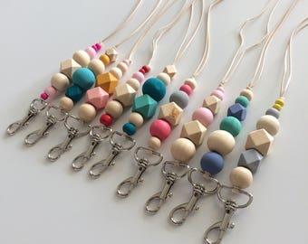CUSTOM Wooden bead lanyard / wooden bead key chain / key fob / key ring / bag charm / key chain / lanyard / necklace