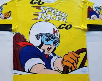 Speed Racer yellow sublimation T shirt