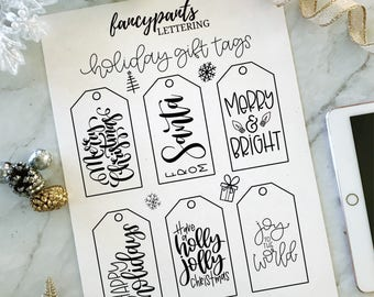 Printable Holiday Gift Tags - Instant Download, Digital File