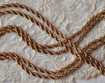 3 Feet French Rope Chain Raw Brass Ginger Tone 2 mm Diameter 1 Yard