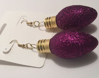 Hypoallergenic Earrings, Purple Sparkle, Dangle Earrings, Christmas Earrings, Bulb Ornament Earrings, Nickel Free, 18KT Gold Plated