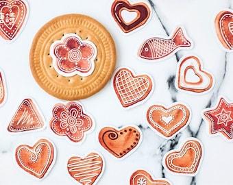 Biscuit stickers, Gingerbread Cookies, Planner Stickers, Christmas stickers, kawaii sticker, planner decorations, Bullet Journal Accessories