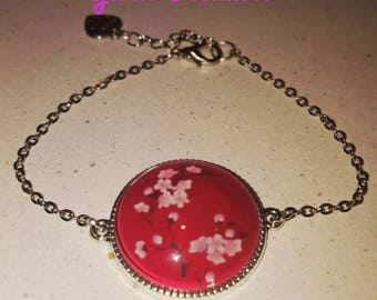 Dome fantasy, red, cherry blossom, with chain adjustable bracelet.