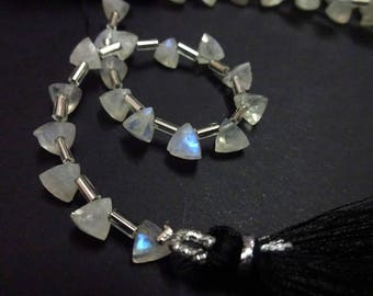"""AAA Grade RAINBOW MOONSTONE Faceted Briolette Trillion beads,Side Drilled, Size 6 mm, 6"""" Strand, Faceted Trillions, Super item for Jewellery"""