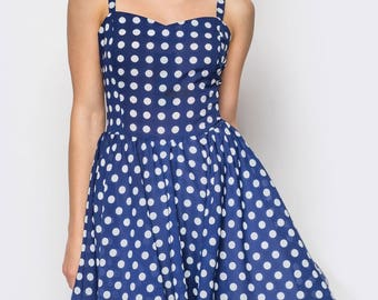 Polka dot chiffon party dress.Retro inspired party dress blue