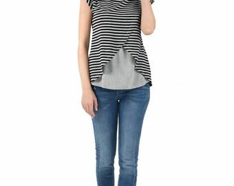 Maternity shirt,stripes nursing top