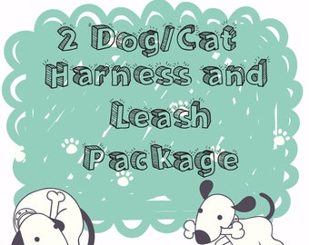 2 Dog/Cat H Harnesses and Leashes Package-Matching Harness and Leash Set