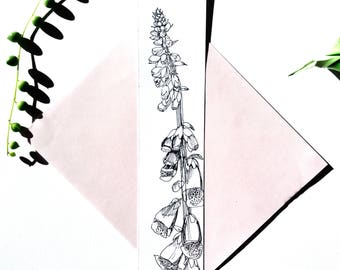 Marked botanical page, digital drawing, nature illustration, black and white illustration, hand card original Botanical drawing ink