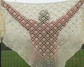 Ecru hand crocheted shawl