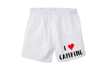 I Love Camping Boxers/Happy Camper/Valentines Gift