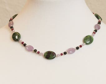 Evening in the Forest: ruby in zoisite, ruby, and amethyst necklace