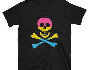 Pansexual Pride Pirate Unisex T-Shirt short sleeve t-shirt lgbt lgbtqipa lgbtq mogai pride flag