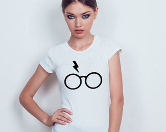 Harry Potter - Glasses and Scar - Black / White T-shirt - Womens - XS - S - M - L - XL - XXL