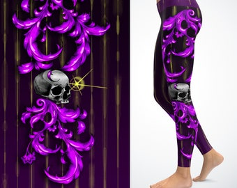 Filigree and skull leggings/ Yoga pants hand-painted art