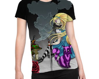 Alice in Wonderland Alice in Repose fitted sublimation all over print womens T-shirt