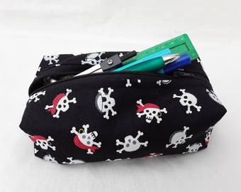 Pirate pencil case, skull and crossbones, pirate make up bag, black cosmetics bag, zipped bag, back to school, gift for him, gift for boys
