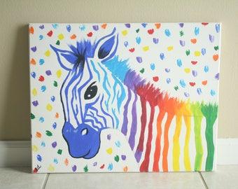 Rainbow Zebra Acrylic Painting