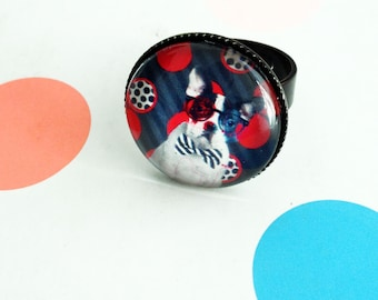 Red and black fashion ring