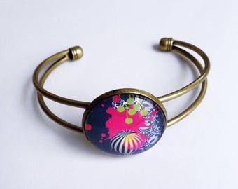 bronze Bangle Bracelet and glass cabochon