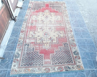 Free Shipping Oushak Rug Vintage Hand Woven Turkish Rug Turkish Rug Rug Vintage turkish rug kilim Rug  7.2 x3.6 feet e:.762