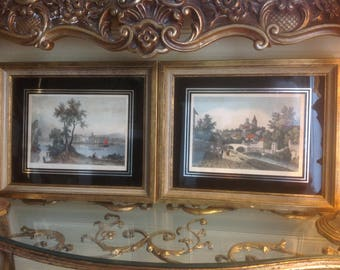 Two Vintage Framed Full Colored Collotypes bySungott Art Studios Mid Century Wall Art