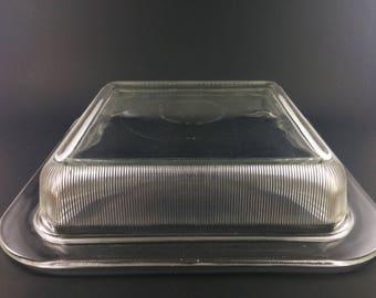 Rare Vintage Heller L&M Vignelli Glass Square Cake Bake Dish Bakeware Baking