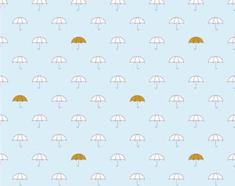 Riley Blake- When Skies Are Gray Blue Umbrellas- Cotton (not knit)