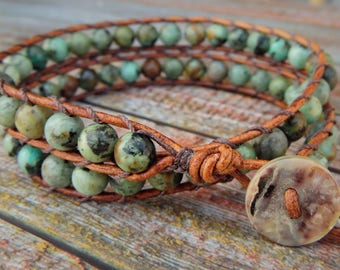 Light African Turquoise Wrap Bracelet, Natural Bracelet, Earthy Bracelet, Green Bracelet, Boho Bracelet, Leather Wrap Bracelet