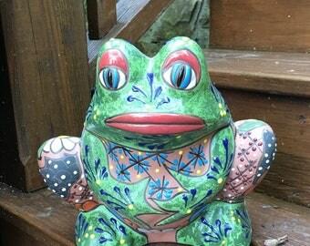 Talavera Style Frog Pot / Pottery Frog Pot / Planting Pot / Frog Pot / Frog Planter / Planter / Garden Frog